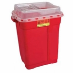 BD Multi-purpose Sharps Container 2-Piece 18.5H X 17.75W X 11.75D Inch 9 Gallon Red Base Sliding Lid - 305616 - Case of 8