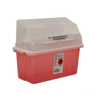 Covidien Gator Guard Multi-purpose Sharps Container 1-Piece 14H X 13W X 6D Inch 5 Quart Translucent Red Base Translucent Lid Horizontal Entry Lid - Case of 14