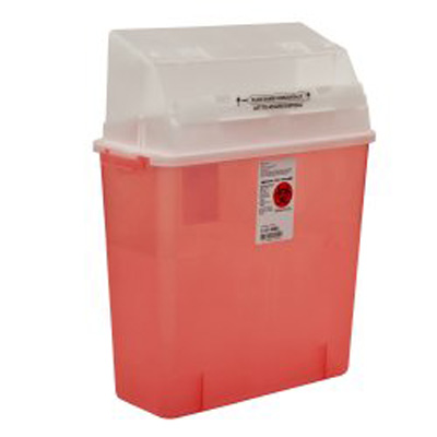 Covidien Gator Guard Multi-purpose Sharps Container 1-Piece 20.5H X 14W X 6D Inch 3 Gallon Translucent Red Base Horizontal Entry Lid - Case of 12