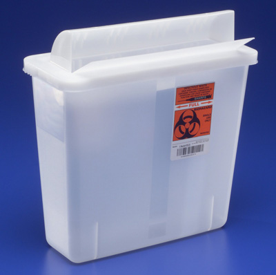 Multi-purpose Sharps Container In-Room 1-Piece 11H X 10.75W X 4.75D Inch 5 Quart Translucent Base Horizontal Entry Lid