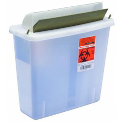 Multi-purpose Sharps Container In-Room 1-Piece 11H X 10.75W X 4.75D Inch 5 Quart Translucent Base Horizontal Entry Lid - 85121
