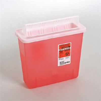 Multi-purpose Sharps Container In-Room 1-Piece 11H X 10.75W X 4.75D Inch 5 Quart Translucent Red Base Horizontal Entry Lid - 851301