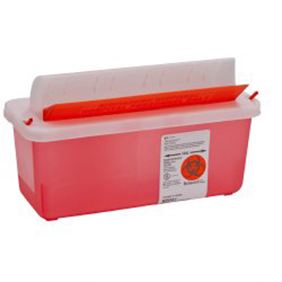 Multi-purpose Sharps Container In-Room 1-Piece 11H X 10.75W X 4.75D Inch 5 Quart Translucent Red Base Horizontal Entry Lid