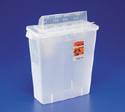Multi-purpose Sharps Container In-Room 1-Piece 16.25H X 13.75W X 6D Inch 3 Gallon Translucent Base Horizontal Entry Lid