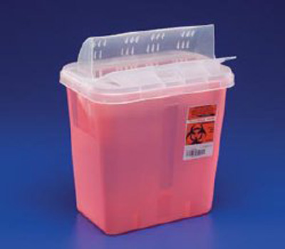 Multi-purpose Sharps Container In-Room 1-Piece 16.25H X 13.75W X 6D Inch 3 Gallon Translucent Red Base Horizontal Entry Lid