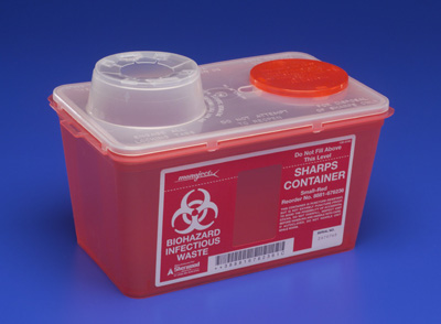 Covidien Monoject Multi-purpose Sharps Container 1-Piece 7.08H X 6.75W X 10.56D Inch 4 Quart Red Base /Translucent Lid Vertical Drop Chimney - 8881676236 - Case of 40