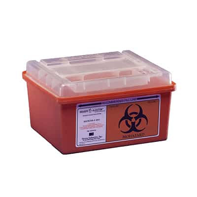 Multi-purpose Sharps Container Sharps-A-Gator 1-Piece 1 Gallon Red Base Horizontal Entry Lid