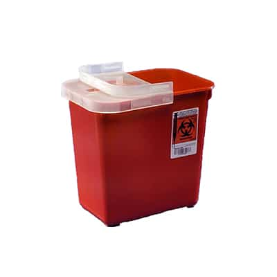 Multi-purpose Sharps Container SharpSafety 1-Piece 10H X 10.5W X 7.25D Inch 2 Gallon Red Base Hinged Lid