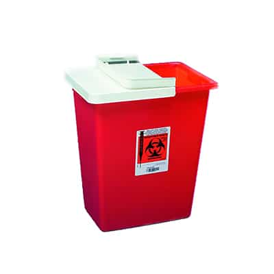 Multi-purpose Sharps Container SharpSafety 1-Piece 17.75H X 11W X 15.5D Inch 8 Gallon Red Base Sliding Lid