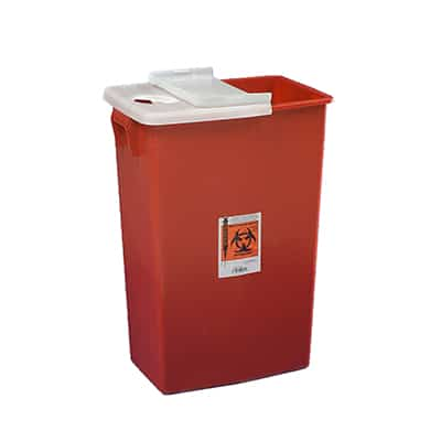 Multi-purpose Sharps Container SharpSafety 1-Piece 26H X 18.25W X 12.75D Inch 18 Gallon Red Base Hinged Lid - 8991