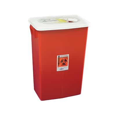 Multi-purpose Sharps Container SharpSafety 1-Piece 26H X 18.25W X 12.75D Inch 18 Gallon Red Base Hinged Lid