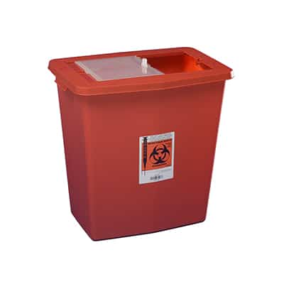 Multi-purpose Sharps Container SharpSafety 1-Piece 26H X 18.25W X 12.75D Inch 18 Gallon Red Base Vertical Entry Sliding Lid