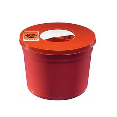 Multi-purpose Sharps Container SharpSafety 1-Piece 6.75H X 8.75D Inch 5 Quart Red Base Vertical Entry Rotor Lid