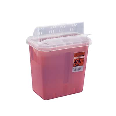 Multi-purpose Sharps Container SharpSafety 12-3/4 H X 7-1/4 D X 10-1/2 W Inch 2 Gallon Red Base Clear Lid Horizontal Entry Lid