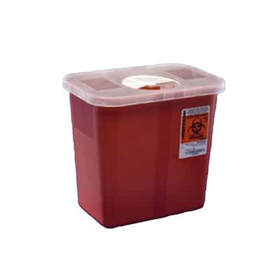 Multi-purpose Sharps Container SharpSafety Nestable 4.5H X 4.75D X 4.75W Inch 0.5 Gallon Red Base / White Lid Vertical Entry Rotor Lid