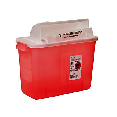 Multi-purpose Sharps Container SharpStar In-Room 1-Piece 11.75H X 13.75W X 6D Inch 8 Quart Translucent Red Base Horizontal Entry Lid