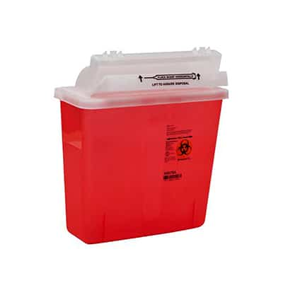 Multi-purpose Sharps Container SharpStar In-Room 1-Piece 12.5 H X 5.5 D X 10.75 W Inch 5 Quart Translucent Red Base Horizontal Entry Lid