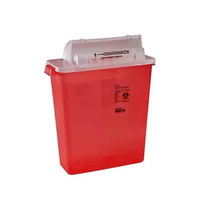 Multi-purpose Sharps Container SharpStar In-Room 1-Piece 16.5H X 13.75W X 6D Inch 12 Quart Translucent Red Base Horizontal Entry Lid