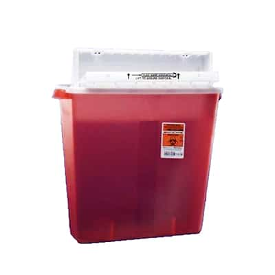 Multi-purpose Sharps Container SharpStar In-Room 1-Piece 18.5H X 16.5W X 6D Inch 4 Gallon Translucent Red Base Horizontal Entry Lid
