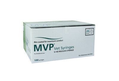 Easy Touch MVP Vet u-40 29 Gauge 0.5 cc 1/2 in Insulin Syringes - 100 ea