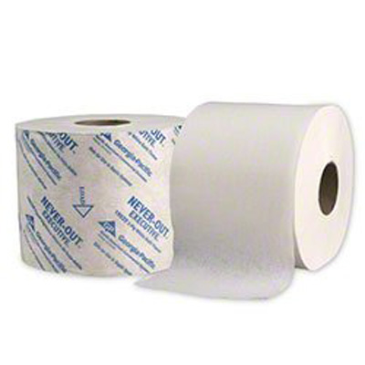 NEVER-OUT Executive Toilet Tissue White 2-Ply Standard Size Cored Roll 770 Sheets 3.9 X 4 Inch