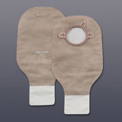 New Image Colostomy Pouch 12 in Length Drainable Clamp Closure with Filter Beige with Green 1-3/4 in