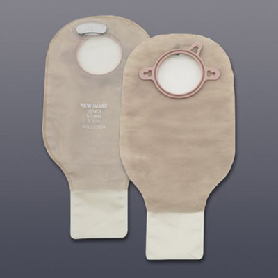 New Image Filtered Ostomy Pouch Two-Piece System 12 in Length Drainable Clamp Closure with Filter Transparent with Red 2-1/4 in