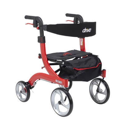 Drive Medical Nitro Euro Style Walker Rollator, Petite, Red