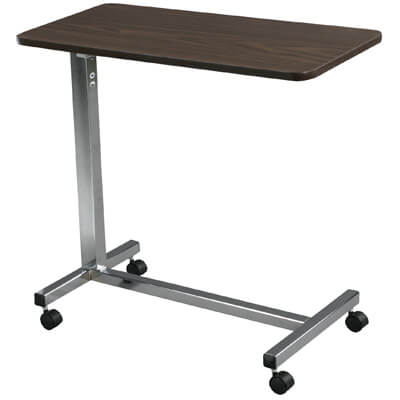 Drive Medical Non Tilt Top Chrome Overbed Table Model 13003