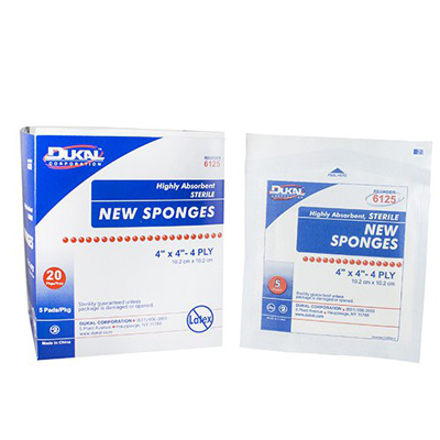 NonWoven Sponge Dukal Polyester / Rayon 4-Ply 4 X 4 Inch Square Sterile - 6125