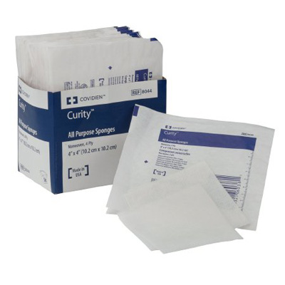 OB Sponge Curity Cotton 2-Ply 4 X 4 Inch Square NonSterile