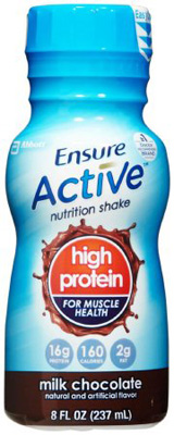 Ensure ActiveLight Chocolate 8 oz. Bottle Ready to Use Oral Supplement - Case of 24