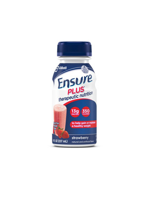 Oral Supplement Ensure Plus Strawberry 8 oz. Bottle Ready to Use