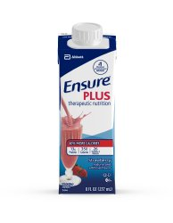 Oral Supplement Ensure Plus Strawberry 8 oz. Recloseable Tetra Carton Ready to Use