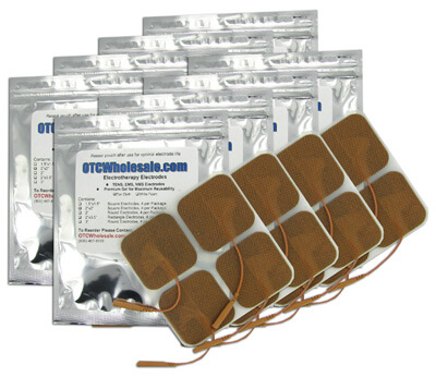 TENS Electrodes 2 x 2 in Square, Tan Mesh Backed - 32 Pads