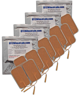 TENS Electrodes 2 x 3.5 in Rectangle, Tan Mesh Backed - 16 Pads