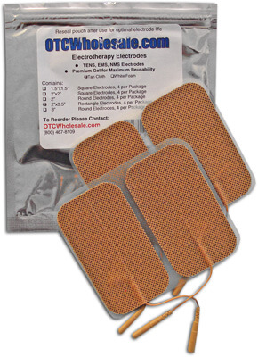 Roscoe Medical TENS Electrodes 2 x 3.5 in Rectangle, Tan Mesh Backed - 4 Pads
