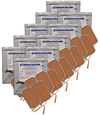TENS Electrodes 2 x 3.5 in Rectangle, Tan Mesh Backed - 40 Pads