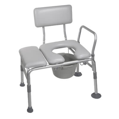 Drive Medical Padded Seat Transfer Bench with Commode Opening Model 12005kdc-1