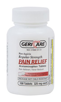 Pain Relief Geri-Care 325 mg Strength Acetaminophen Tablet 100 per Bottle