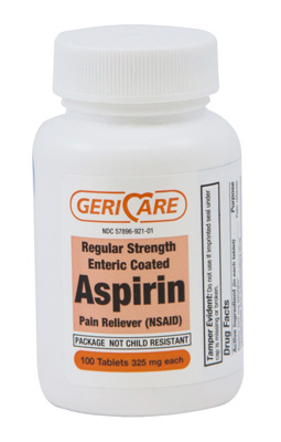 Pain Relief Geri-Care 325 mg Strength Aspirin Tablet 100 per Bottle