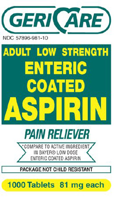 Pain Relief Geri-Care 81 mg Strength Aspirin Coated Tablet 1000 per Bottle