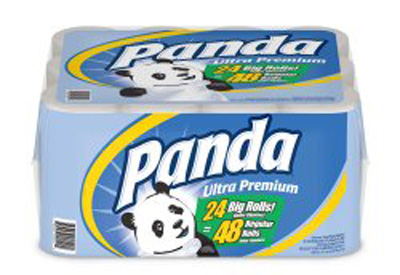 Panda Ultra Premium Toilet Tissue White 2-Ply Standard Size Cored Roll 200 Sheets 4 X 4 Inch