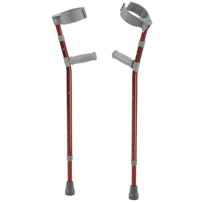 Pediatric Forearm Crutches Medium Castle Red Pair - Drive Medical - FC200-2GR