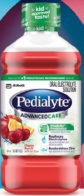 Pediatric Oral Electrolyte Solution Pedialyte AdvancedCare Cherry Punch 1 Liter Bottle Ready to Use