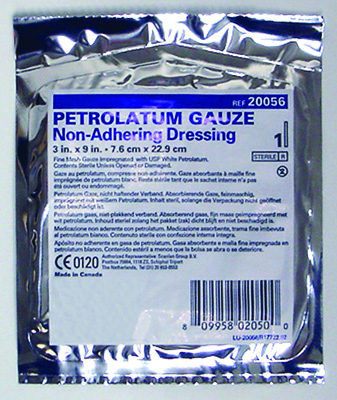 Petrolatum Impregnated Dressing McKesson 3 X 9 Inch Pleated Gauze USP White Petrolatum Sterile