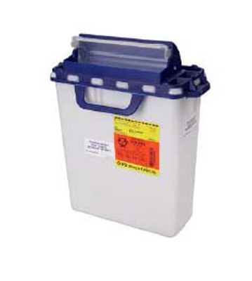 Pharmaceutical Waste Container Horizontal Drop 16 X 13-1/2 X 6 Inch 3 Gallon White Base Blue Lid Counter Balanced Lid