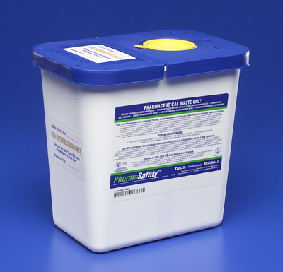 Pharmaceutical Waste Container PharmaSafety Nestable 10H X 10.5W X 7.25D Inch 2 Gallon White Base / Blue Lid Vertical Entry Hinged Lid