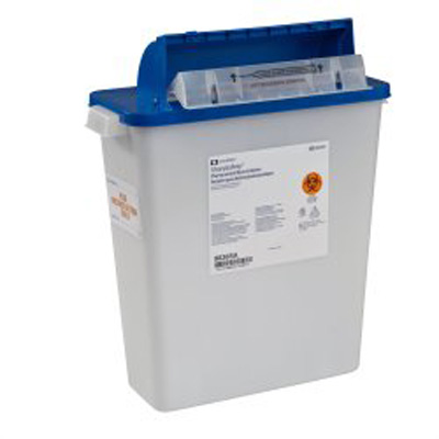 Pharmaceutical Waste Container PharmaSafety Nestable 16-1/2H X 13-3/4W X 6D Inch 3 Gallon White Base / Blue Lid Horizontal Entry Counterbalance Lid