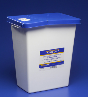 Pharmaceutical Waste Container PharmaSafety Nestable 17.75H X 11W X 15.5D Inch 8 Gallon White Base / Blue Lid Vertical Entry Hinged Lid